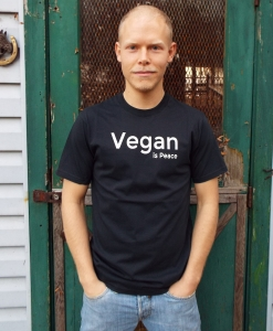 Vegan is Peace, Men's Black T-shirt