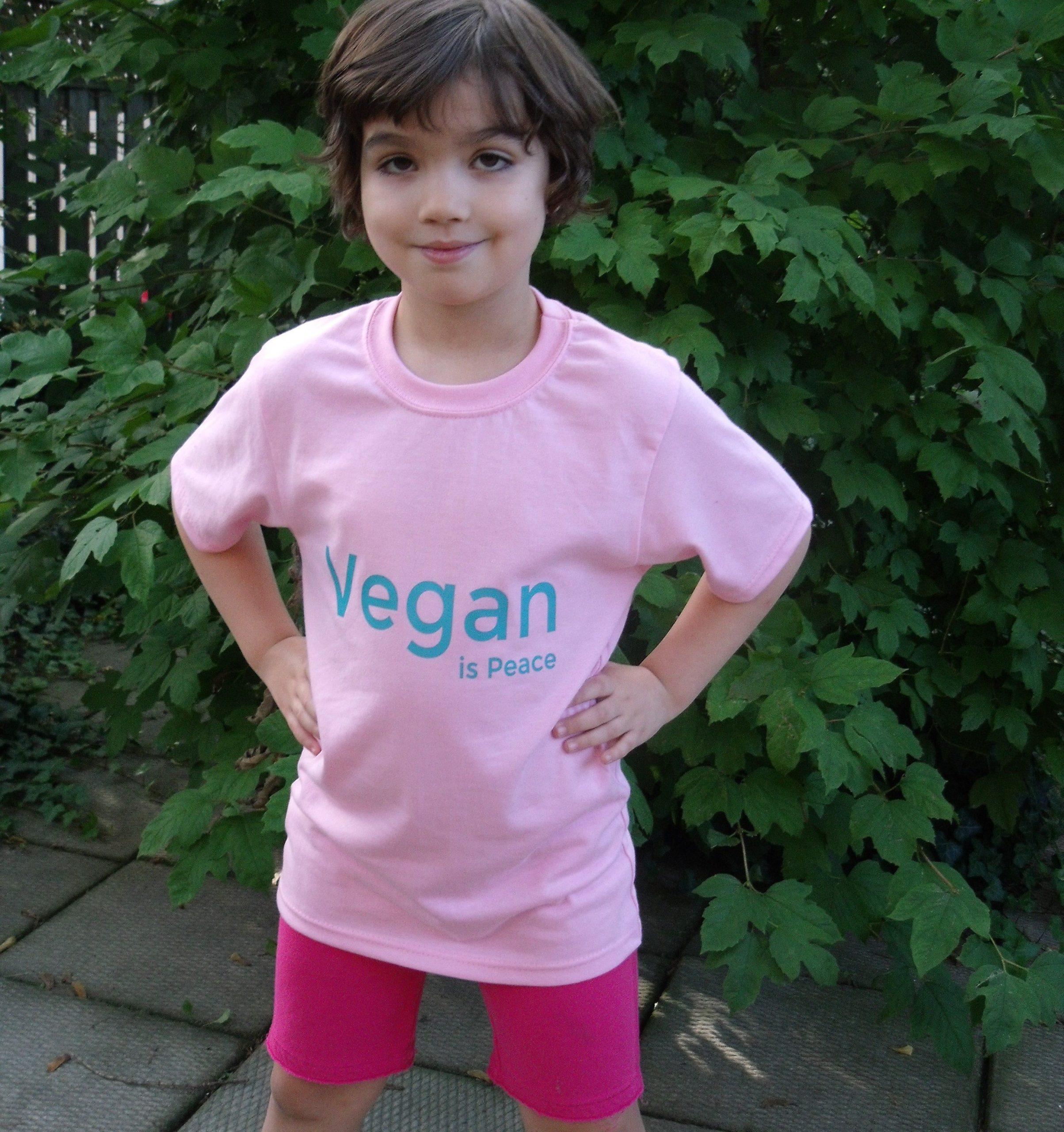 Peace Love Vegan Childrens Black Cotton Long Sleeve Round Neck T Shirt for Boy Or Girl