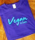 Vegan is Love – Purple T-shirt with Turquoise Ink
