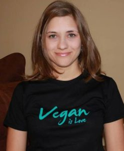 "Kimberly wearing ""Vegan is Love"""
