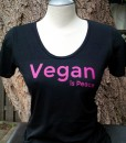 Vegan is Peace – Pink on black Bamboo