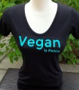 "Turquoise ""Vegan is Peace"" on Black Bamboo Scoop"