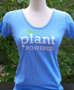 "Blue ""Plant Powered"" Bamboo & Organice T-shirt"