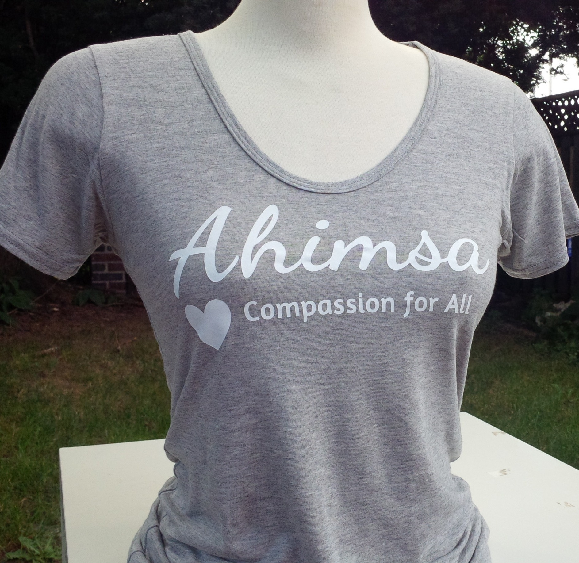 239de7db3b972 Ahimsa - Compassion for All - Bamboo   Organic Cotton Scoop Tee -
