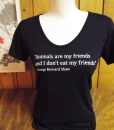 """Animals are my friends and I don't eat my friends."" on bamboo & organic cotton, scoop neck, women's shirt"
